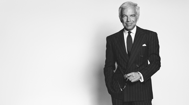 Black & white photo of Mr. Lauren in pinstripe suit