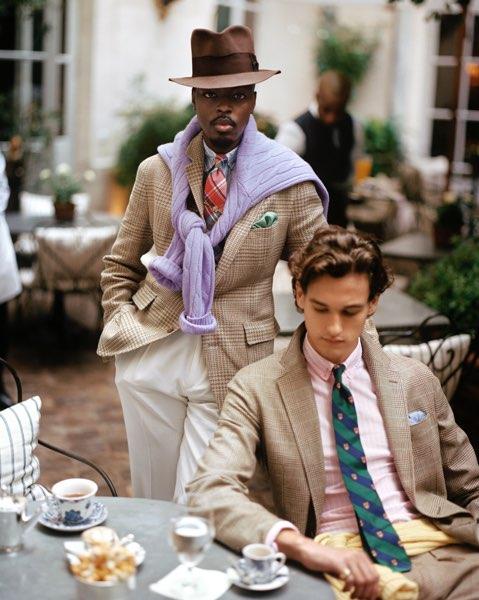 Men in sport coats & ties at outdoor cafe