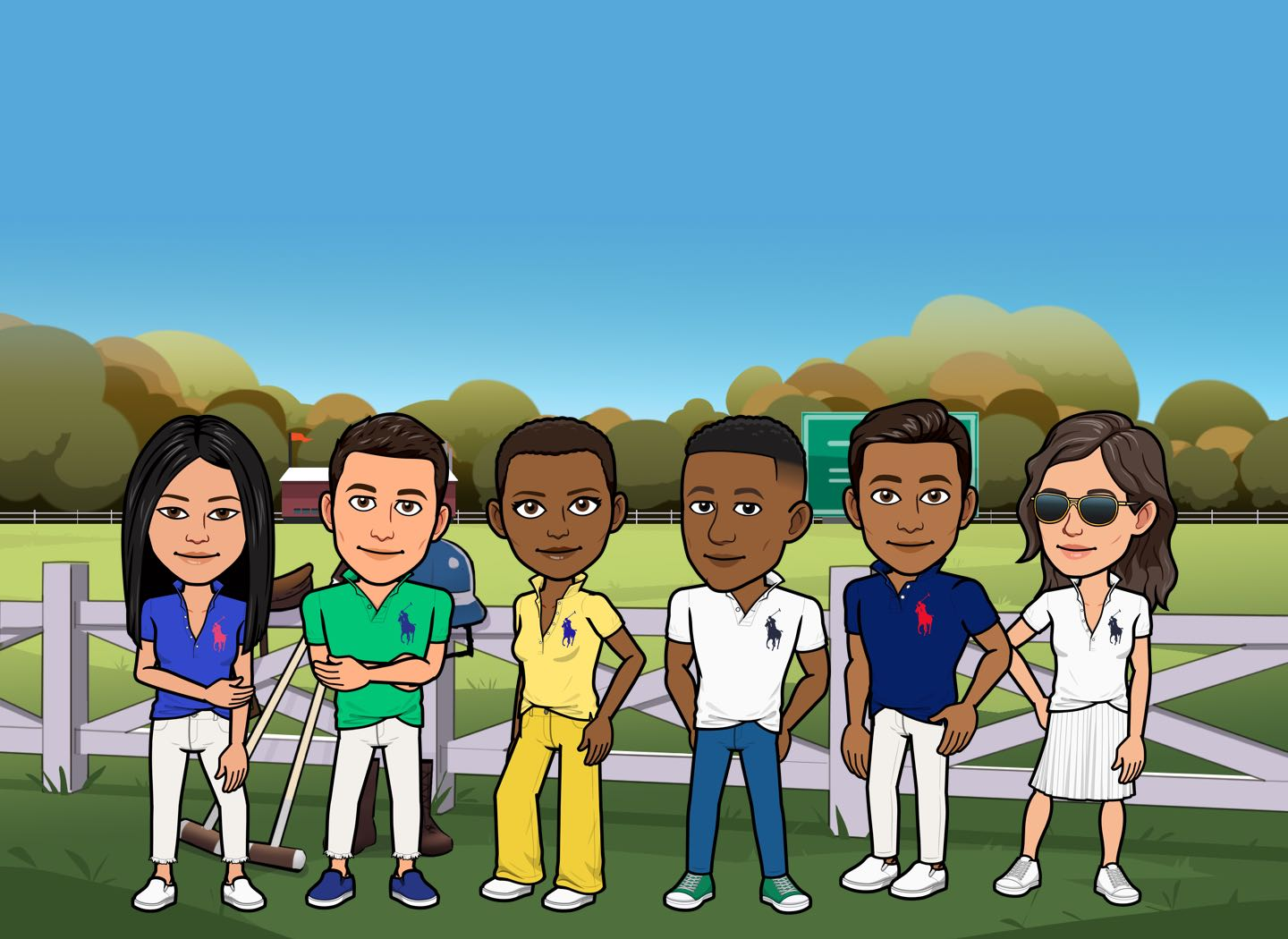 Row of male & female Bitmojis in Polos in different colors