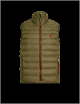 Dark green custom packable vest with red trim.