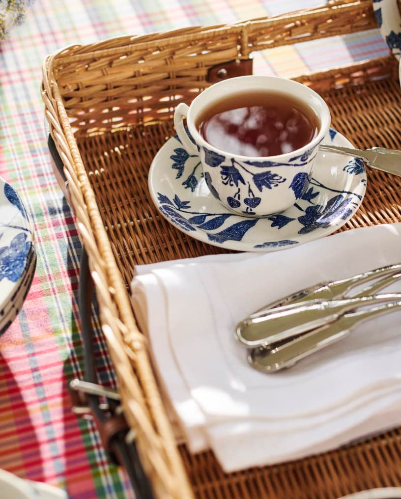 Teacup & saucer with blue garden vine pattern on wicker tray