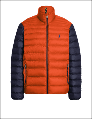 Color-blocked custom packable jacket with orange body and navy sleeves.