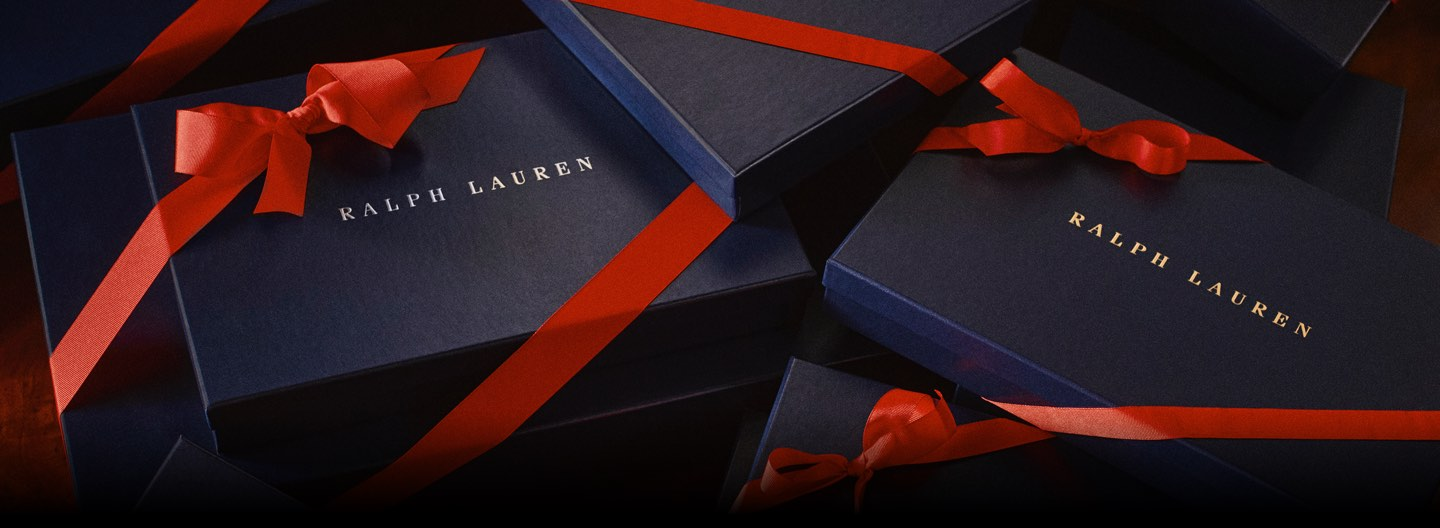 Navy Ralph Lauren gift boxes tied with red ribbon