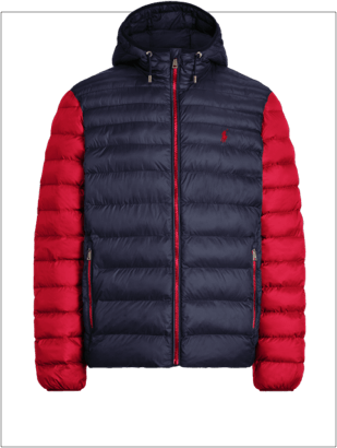 Custom packable hooded jacket with navy body and red sleeves.