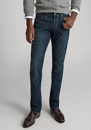 Photograph of man from waist down wearing Polo Slim Straight jeans