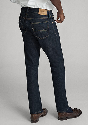 Back of man wearing Polo slim jeans