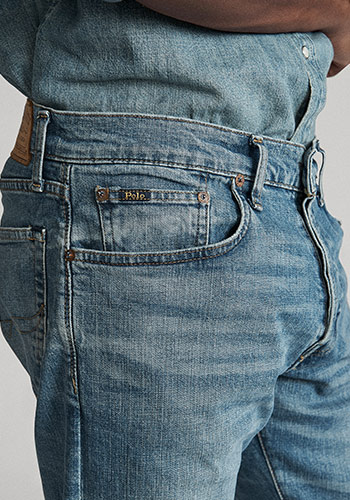 Details shot of pockets on Polo straight jeans