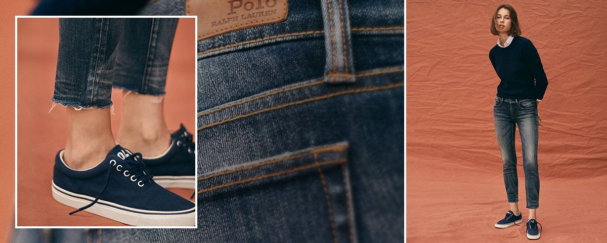 Close-up of Tompkins Skinny Crop jean; woman wears Polo denim.