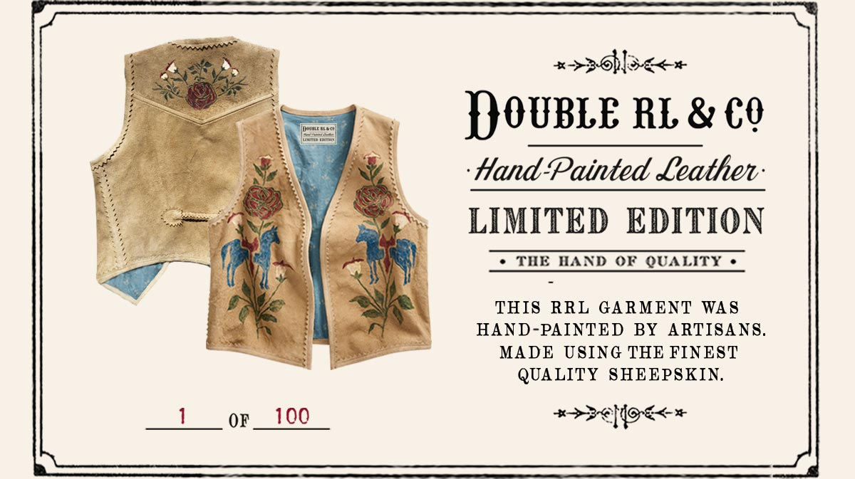 Tan leather vest with painted floral motif at front & back