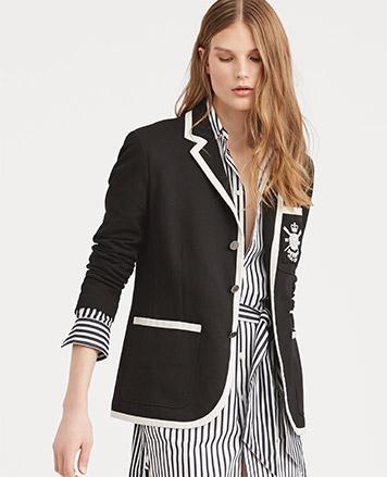 Black blazer with white trim