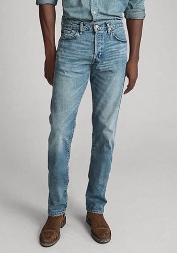 Photograph of man from waist down wearing Polo Straight jeans