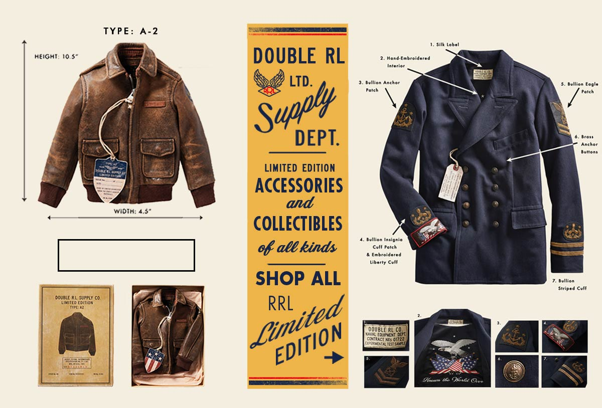 Leather bomber jacket & navy peacoat with military-inspired accents