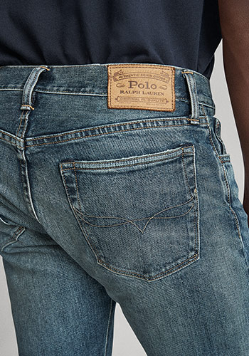 Detail shot of back of skinny jeans & Polo label