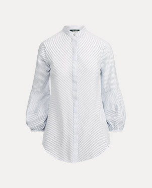 Cotton-Blend Puff-Sleeve Shirt