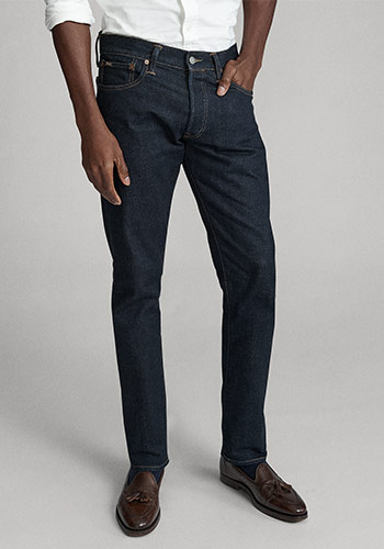 Photograph of man from waist down wearing Polo slim jeans