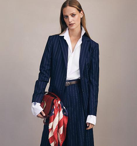 Pinstripe Wool Wide-Leg Trouser