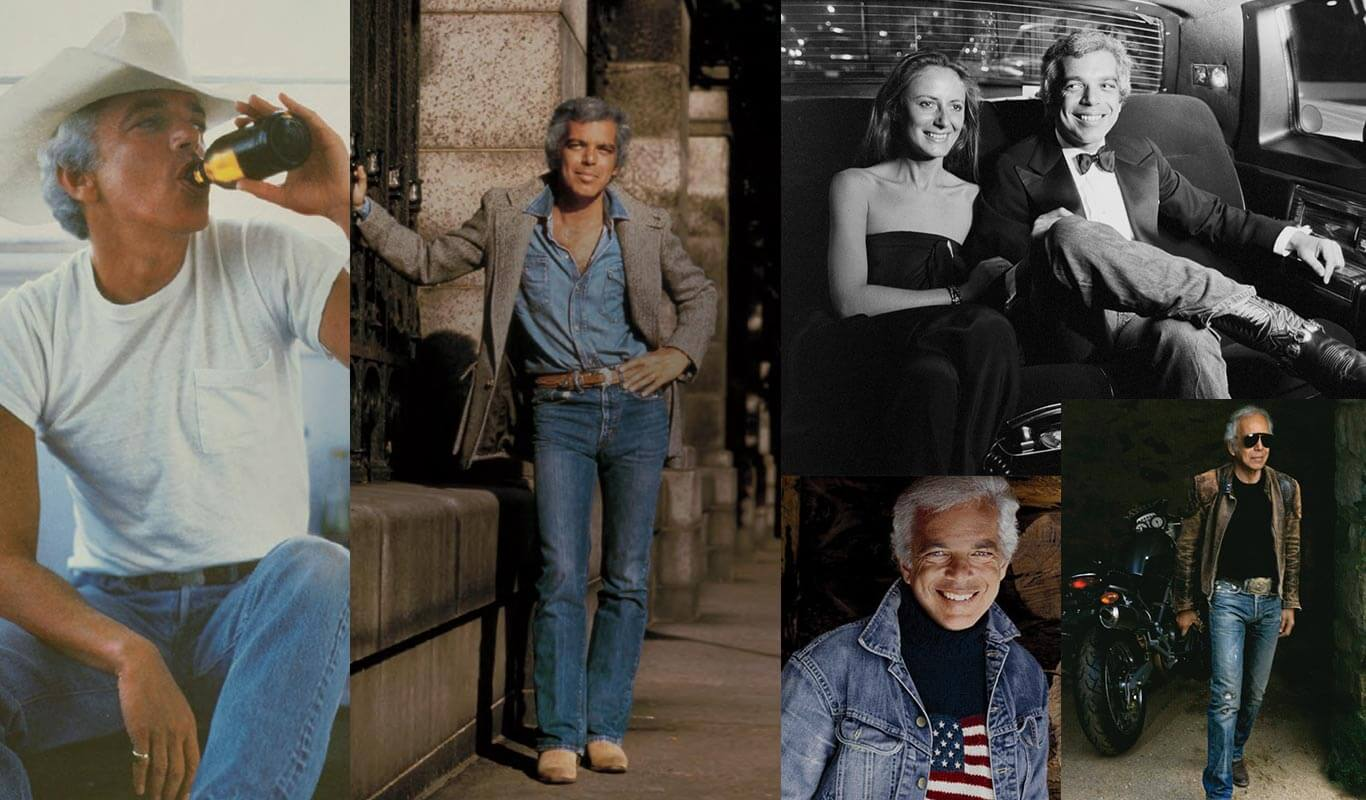 Collage of images of Ralph Lauren wearing denim