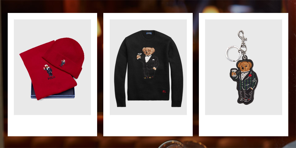 Black scarf with embroidered Polo Bear and fringe. Pajama pants with allover pattern of Martini Bear. Keychain with Martini Polo Bear.