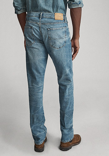 Back of man wearing Polo straight jeans