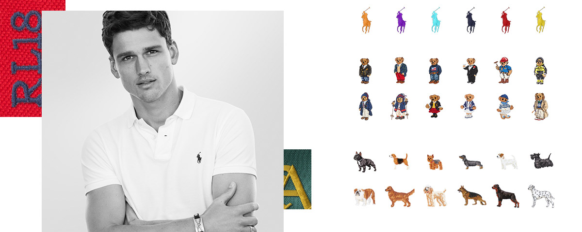 Man in white custom Polo shirt; Rows of Polo Pony, Polo Bear, and pup embroidery options