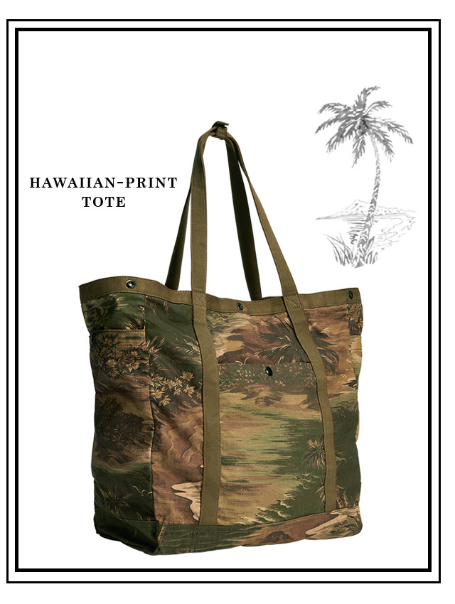 Indigo button-down & henley and tote with tropical island motif