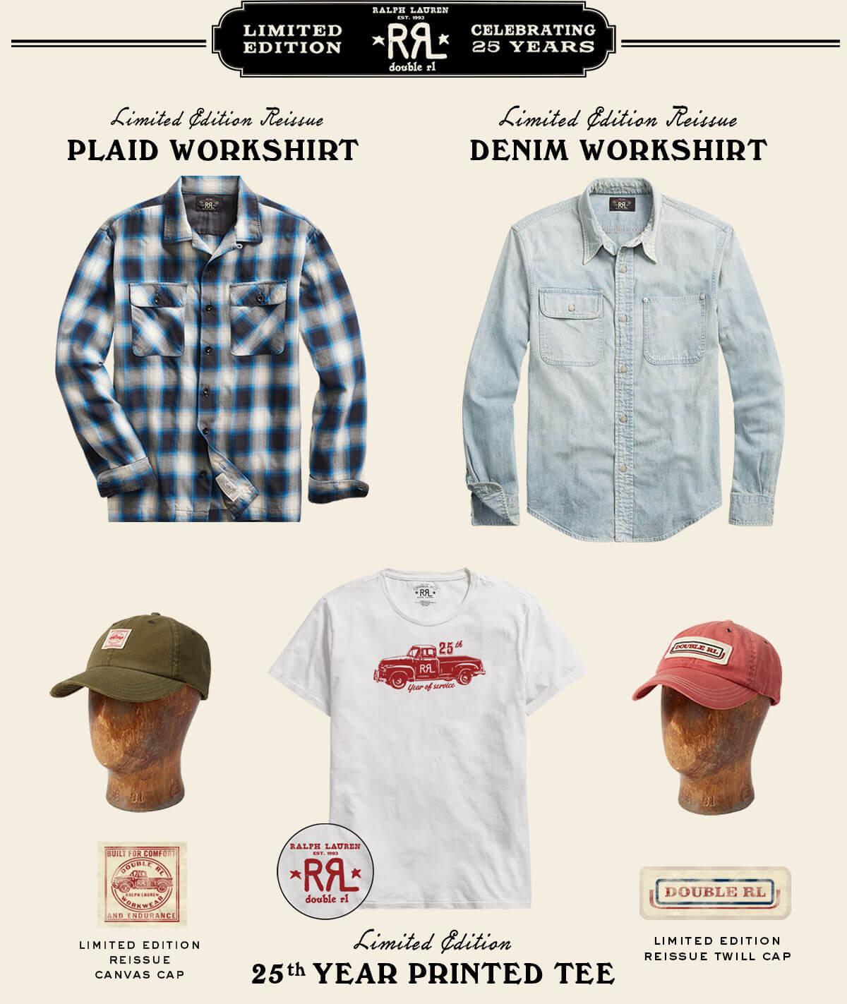 Plaid & denim workshirts, 25th anniversary tee & caps
