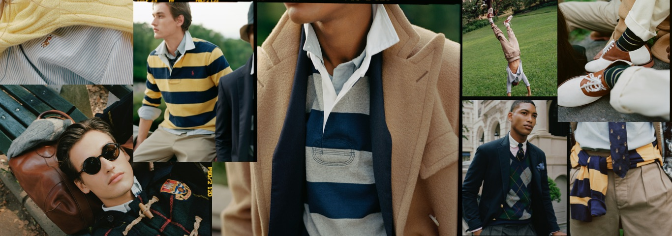 Collage of men on lawn in prep-inspired Polo styles
