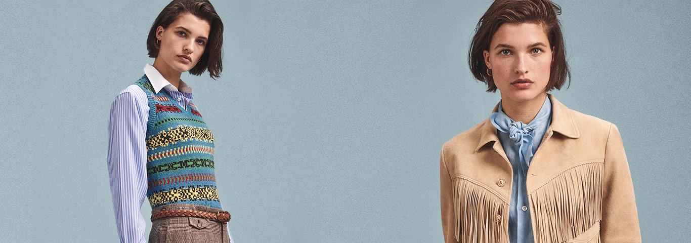 Woman in fringe jacket & woman in fringe plaid shirt