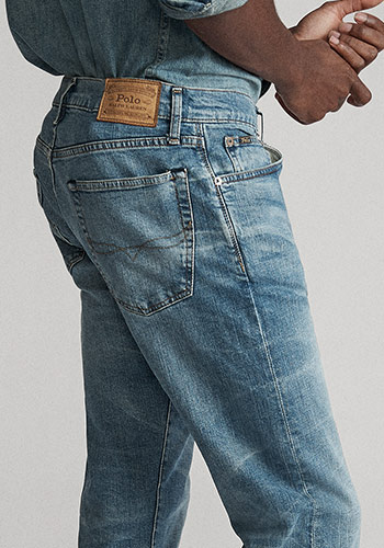 Detail shot of back of straight jeans & Polo label