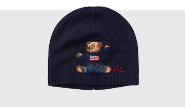 Knit beanie with Flag Bear at the front.
