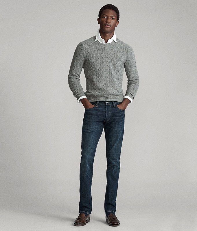 Man in grey cable sweater & Slim Straight jeans