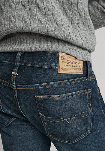 Detail shot of back of Slim Straight jeans & Polo label