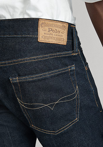 Detail shot of back of slim jeans & Polo label