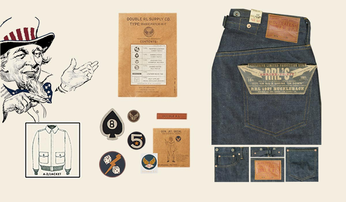 Illustration of Uncle Sam & close-up image of jeans