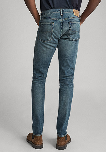 Back of man wearing Polo skinny jeans