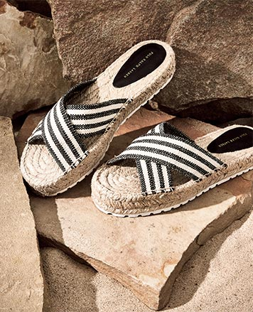 Striped knit espadrilles with crisscross straps