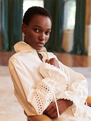 Lace-Trim Broadcloth Dress