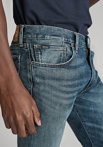 Details shot of pockets on Polo skinny jeans